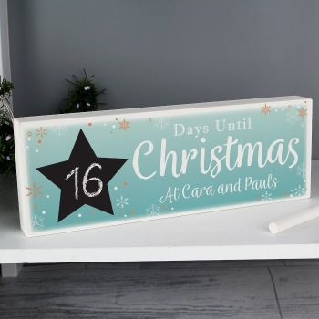 Personalised Christmas Chalk Countdown Wooden Block Sign with Chalk