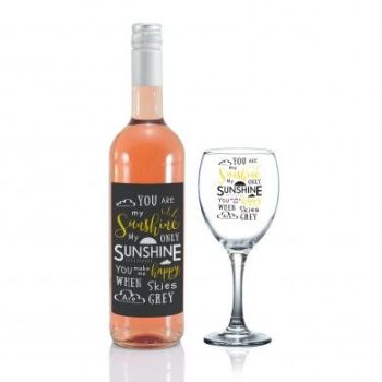Personalised You Are My Sunshine Rose Wine Gift Set