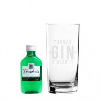 Personalised Gin and Bear It Hi Ball Gift Set