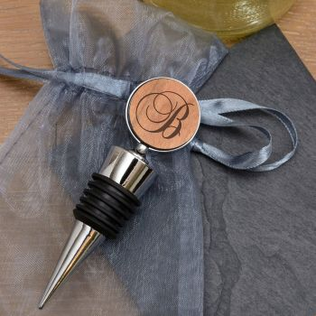 Personalised Cherrywood Initial Bottle Stopper