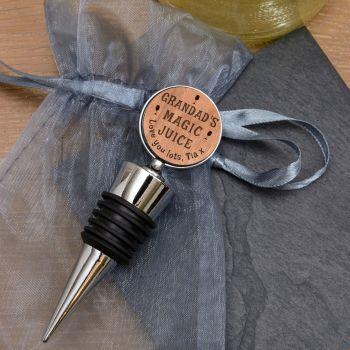 Personalised Cherrywood Magic Juice Bottle Stopper