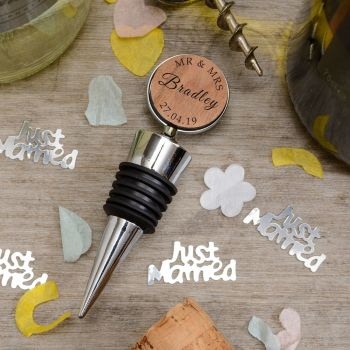 Personalised Cherrywood Mr & Mrs, Mr & Mr or Mrs & Mrs Bottle Stopper