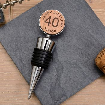Personalised Cherrywood Any Special Age Bottle Stopper