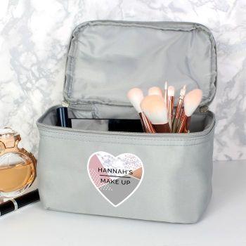 Personalised Geometric Grey Make Up Wash Bag