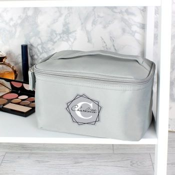 Personalised Initial Grey Make Up Wash Bag