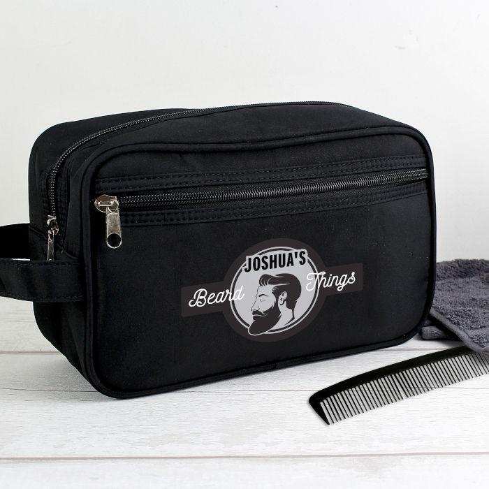Personalised Beard Things Black Wash Bag
