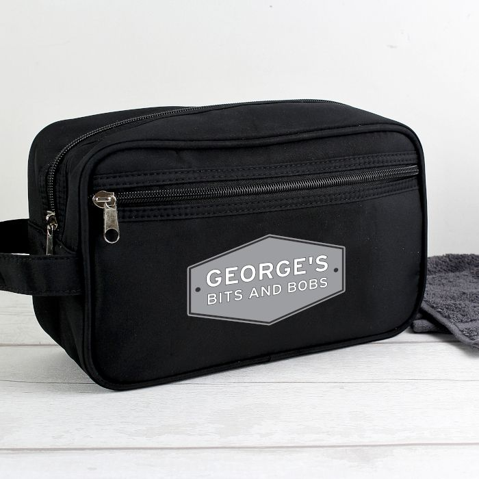 Personalised Plaque Black Wash Bag