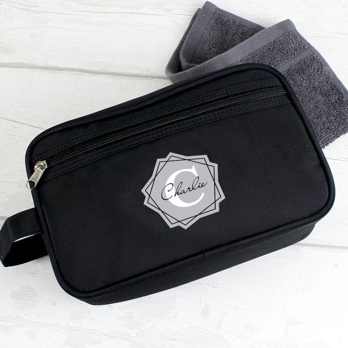 Personalised Initial Black Wash Bag