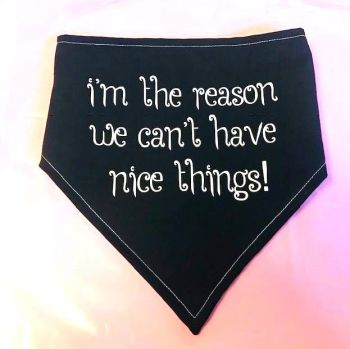 Handmade Adjustable I'M THE REASON... Dog Bandana - Various Sizes