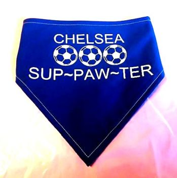 Handmade Adjustable ADD YOUR TEAM BLUE SUP-PAW-TER Dog Bandana