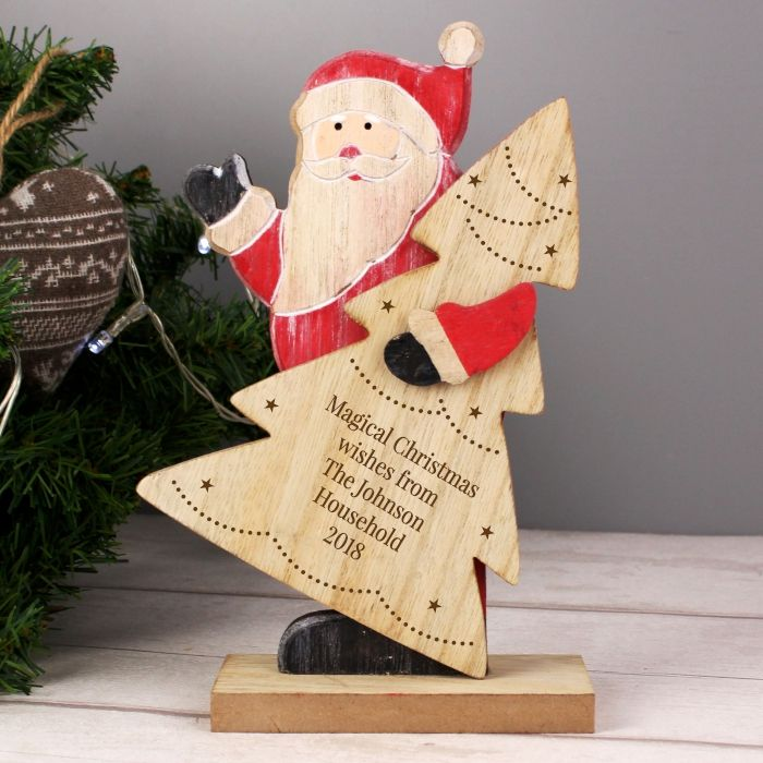 Personalised Santa Wooden Christmas Decoration