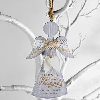 Personalised In Loving Memory Hanging Wooden Angel Decoration