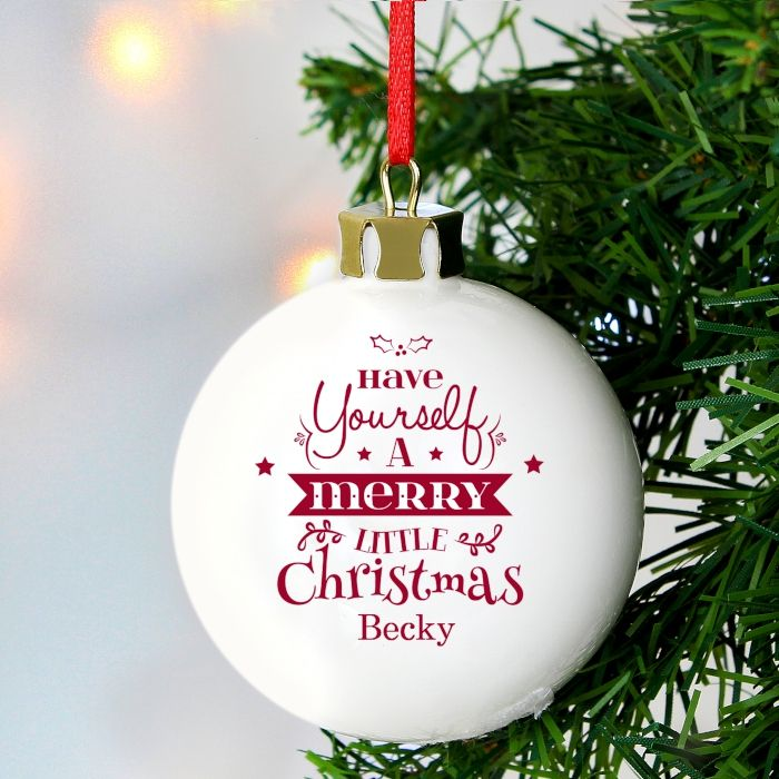 Personalised MERRY CHRISTMAS CHRISTMAS BAUBLE Ceramic Christmas Tree Bauble