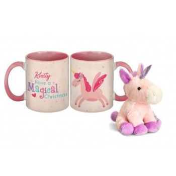 Personalised Magical Christmas Pink Mug & Unicorn Teddy