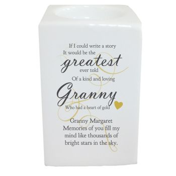 Personalised Memorial The Greatest Story Tea Light Holder