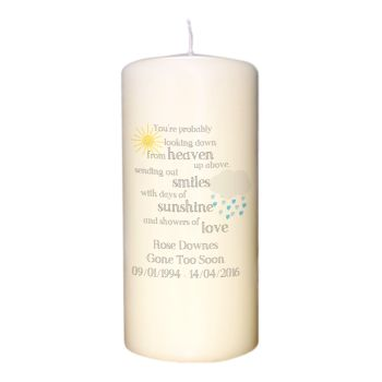 Personalised Showers of Love Memorial Candle