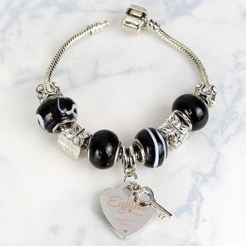 Personalised Swirls & Hearts 18th Birthday Key Charm Bracelet - Galaxy - 21cm