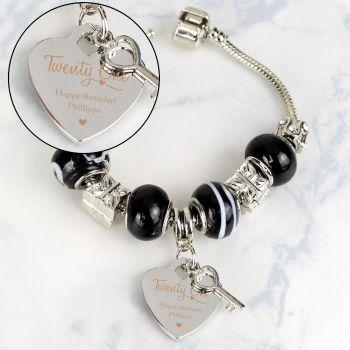 Personalised Swirls & Hearts 21st Birthday Key Charm Bracelet - Galaxy - 21cm