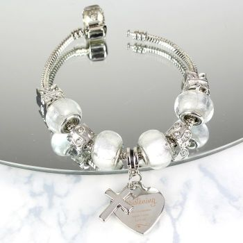 Personalised Swirls & Hearts Christening Cross Charm Bracelet - Ice White - 18cm