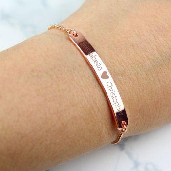 Personalised Rose Gold Tone Heart Bar Bracelet
