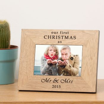 "Personalised 7""x5"" Our First Christmas Wood Photo Frame"