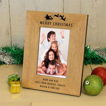 "Personalised 7""x5"" Merry Christmas Wood Photo Frame"