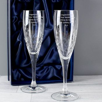 Personalised Crystal Champagne Pair of Flutes with Gift Box