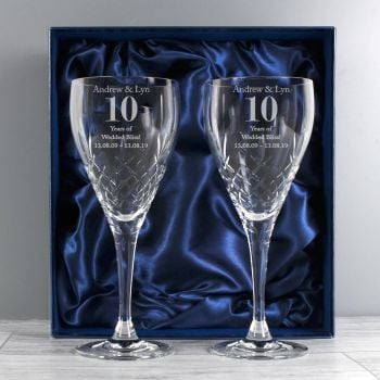 Personalised Anniversary Pair of Crystal Wine Glasses with Gift Box