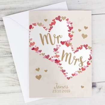 Personalised Mr & Mrs Confetti Hearts Card