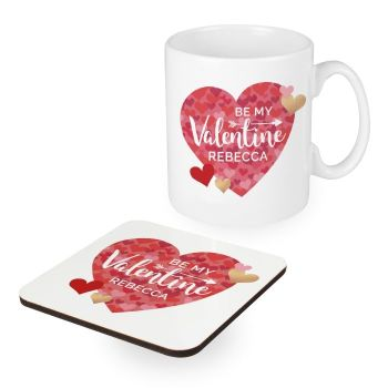 Personalised Valentine's Day Confetti Hearts Mug & Coaster Set