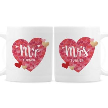 Personalised Mr and Mrs Day Confetti Hearts Mug Set