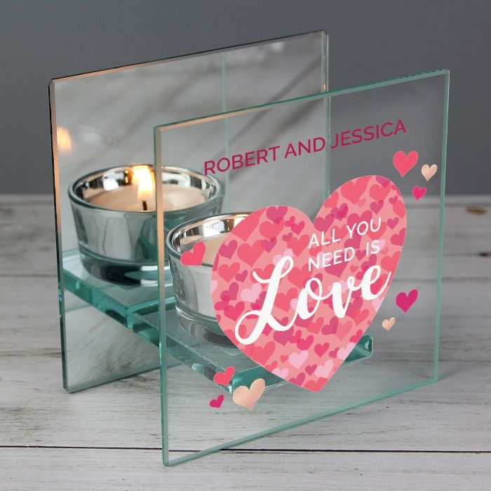 Personalised 'All You Need is Love' Confetti Hearts Glass Tea Light Candle