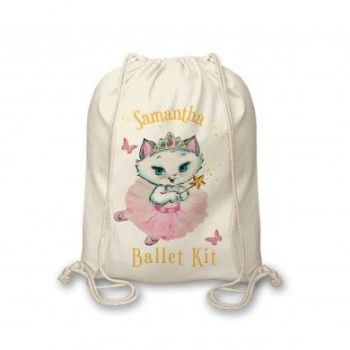 Personalised Nina Fairy Cotton Canvas Drawstring Bag