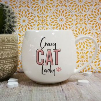 Personalised Crazy Cat Lady Hug Mug