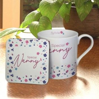 Personalised Amazing Floral Large Balmoral Mug & Coaster