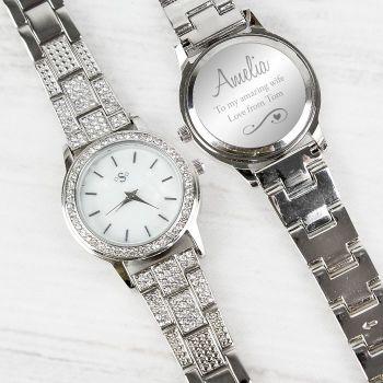 Personalised Swirls & Hearts Diamante Ladies Watch
