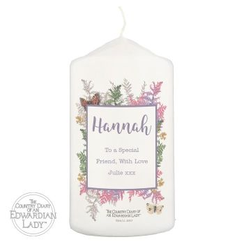 Personalised Country Diary Botanical Pillar Candle