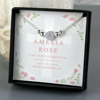 Personalised Religious Bracelet & Box Christening Confirmation 1st Communion