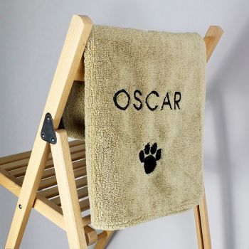 Personalised Pet Paw Brown Microfiber Towel