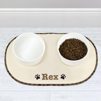 Personalised Brown Paw Print Pet Bowl Placemat