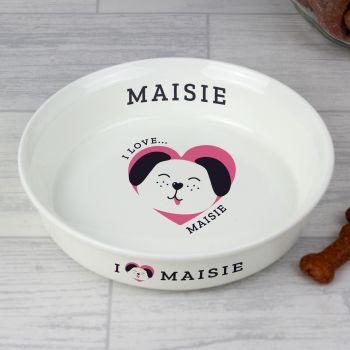 Personalised 'I Love my Dog - Cute Design' Small Ceramic White Pet Bowl
