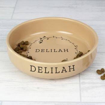 Personalised Floral Small Ceramic Brown Pet Bowl