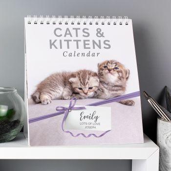 Personalised Cats & Kittens Desk Calendar Cat Calendar Kitten Calendar ANY MONTH