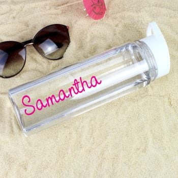 Personalised Pink Name Island Water Bottle