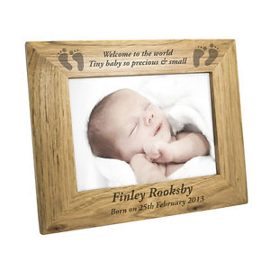 Personalised Wooden Baby Feet Photo Frame