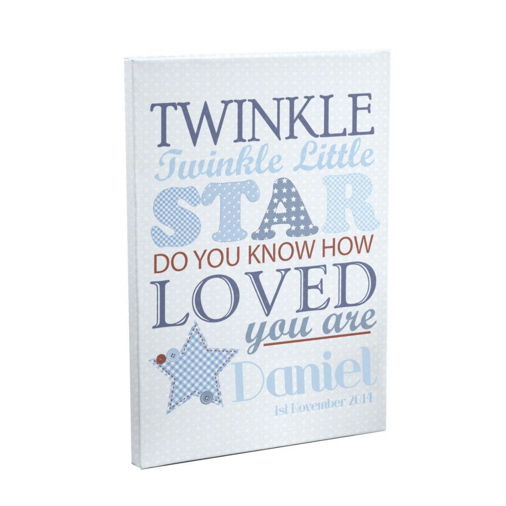 Personalised Twinkle Twinkle Boys Canvas