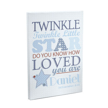 Personalised Twinkle Twinkle Boys Canvas