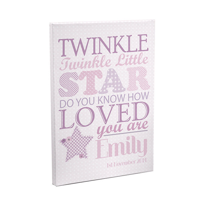 Personalised Twinkle Twinkle Girls Canvas