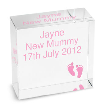 Personalised New Baby Girl Footprints Glass Block / Token - Medium