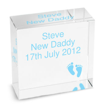 Personalised New Baby Boy Footprints Glass Block / Token - Medium